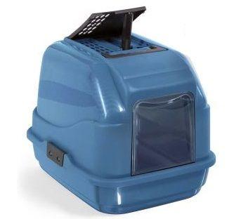 IMAC Krytý kočičí záchod z recyklovaného plastu s uhlíkovým filtrem, modrý 50x40x40 cm