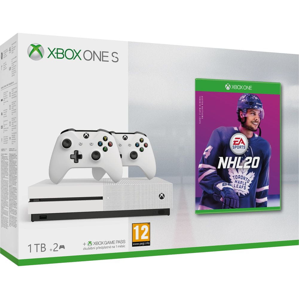 Microsoft Xbox One S 1 TB + 2× bezdrátový ovladač + NHL 20