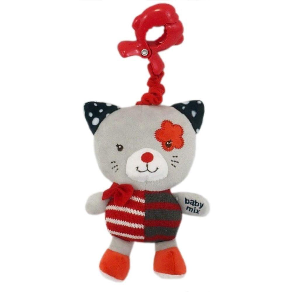 Baby Mix Dětská plyšová hračka s hracím strojkem Baby Mix kočička červená