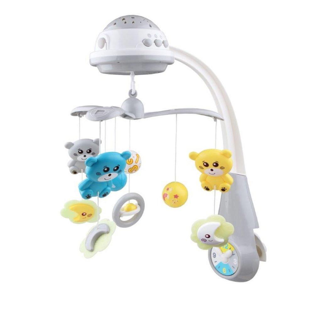 Baby Mix Kolotoč nad postýlku se světelným projektorem Baby Mix grey