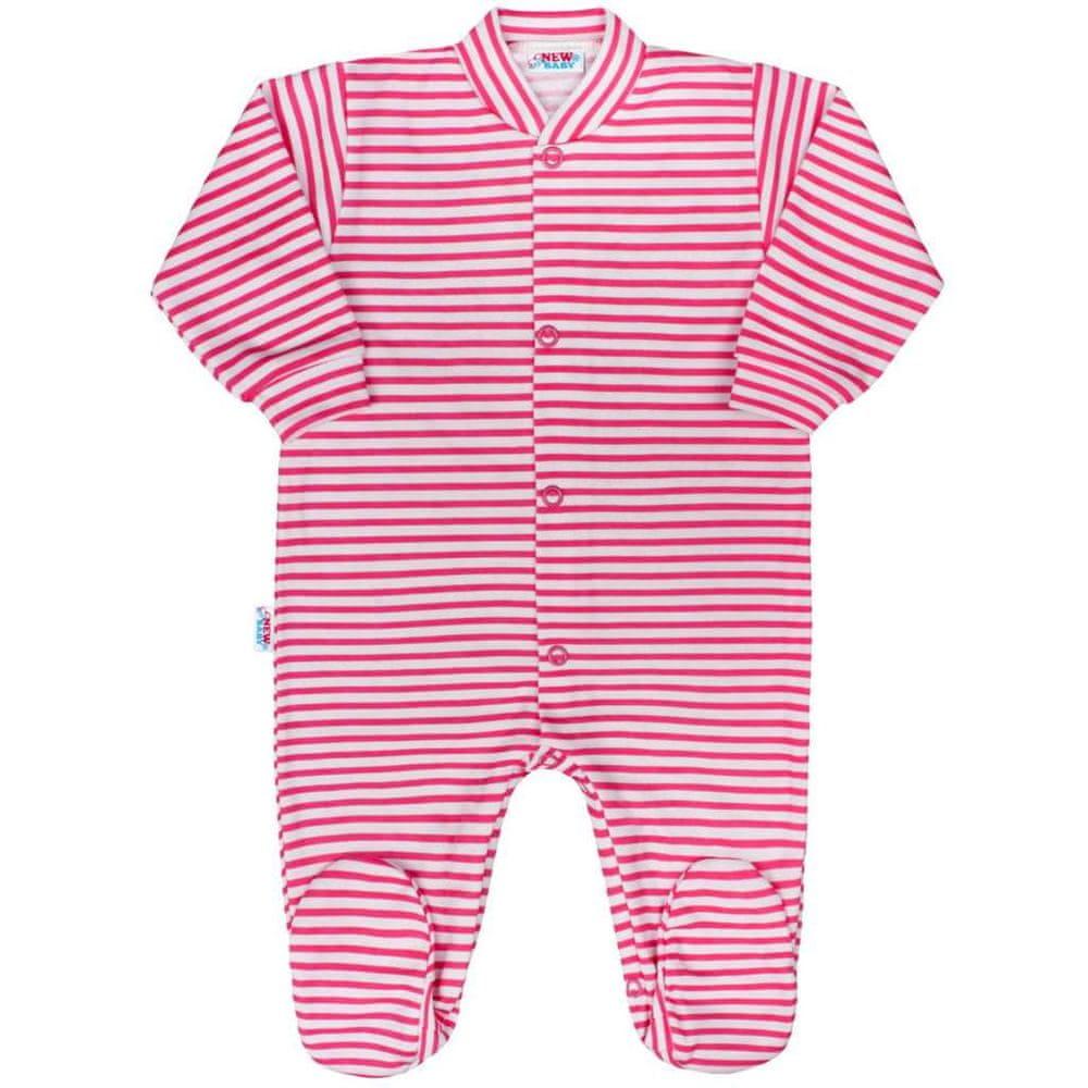 NEW BABY Kojenecký overal New Baby Classic II s růžovými pruhy - 56 (0-3m)