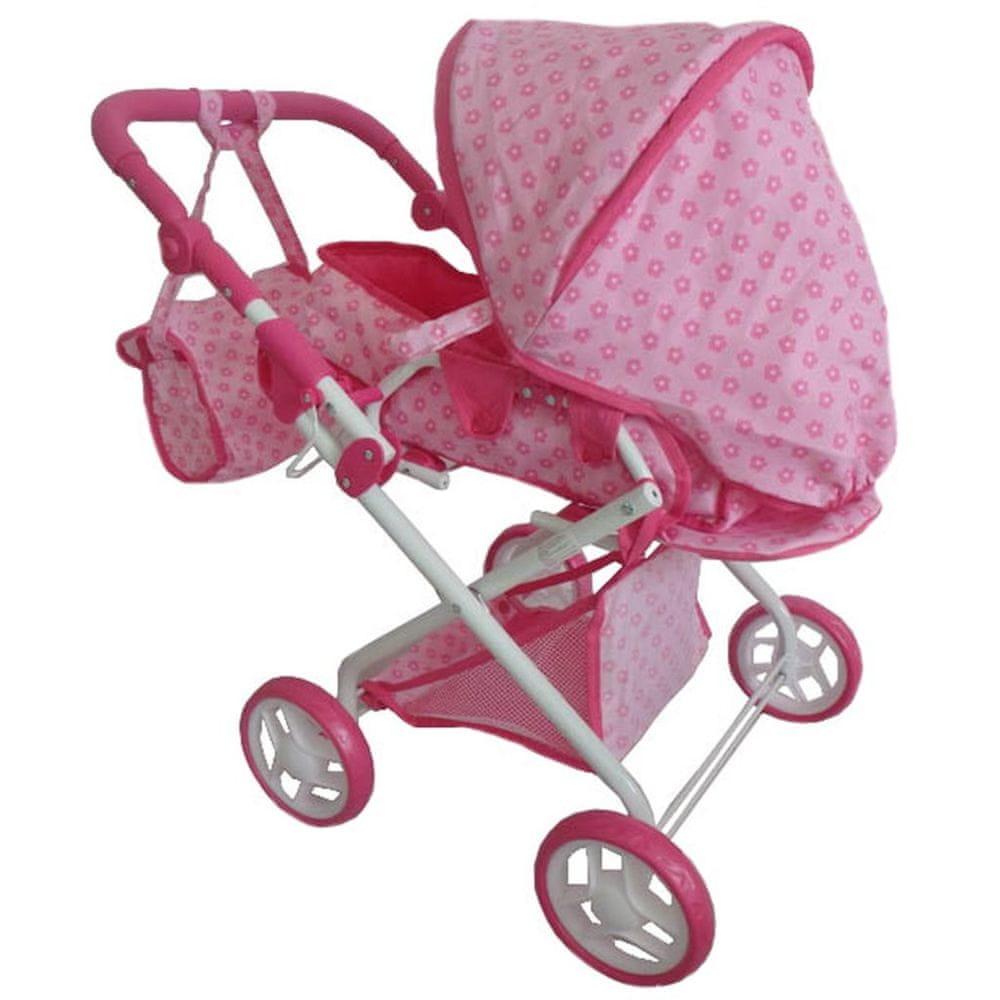 Baby Mix Dětský kočárek pro panenky 2v1 Baby Mix růžový s kytičkami
