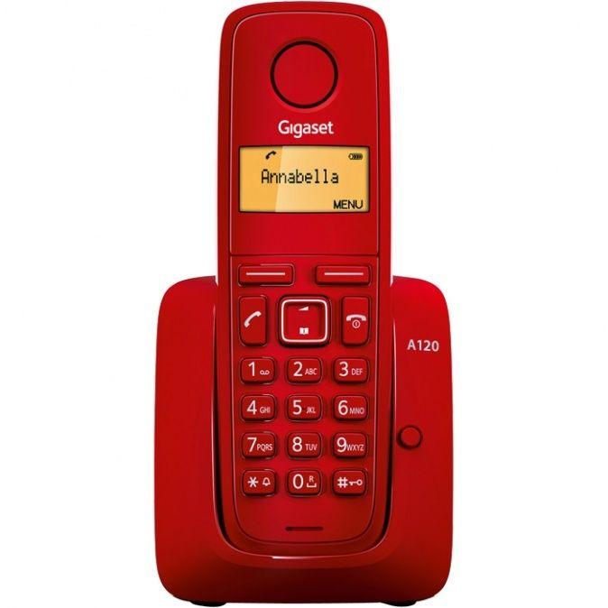 Gigaset -A120-RED - DECT/GAP bezdrátový telefon, jednoduchý, seznam na 50 jmen, až 4 sluch., barva č