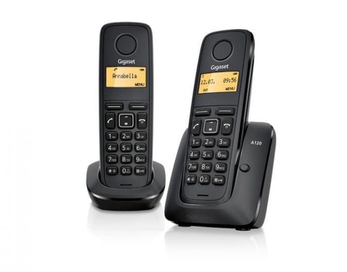 Gigaset -A120-DUO - DECT/GAP bezdrátový telefon,, seznam na 50 jmen, 2 sluchátka, barva černá