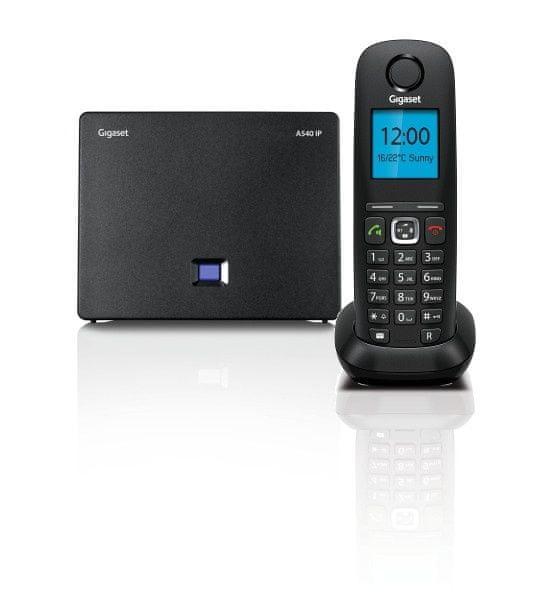 Gigaset -A540IP - DECT/GAP bezdrátový IP telefon, 6 SIP účtů, až 3 hovory zároveň, barva černá