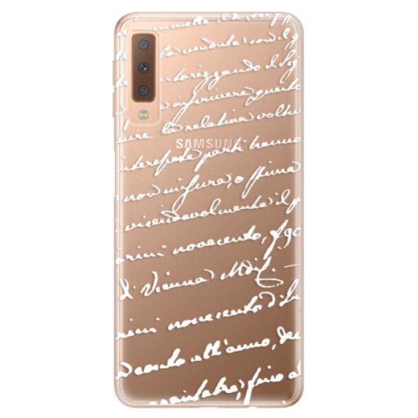 iSaprio Silikonové pouzdro - Handwriting 01 - white pro Samsung Galaxy A7 (2018)