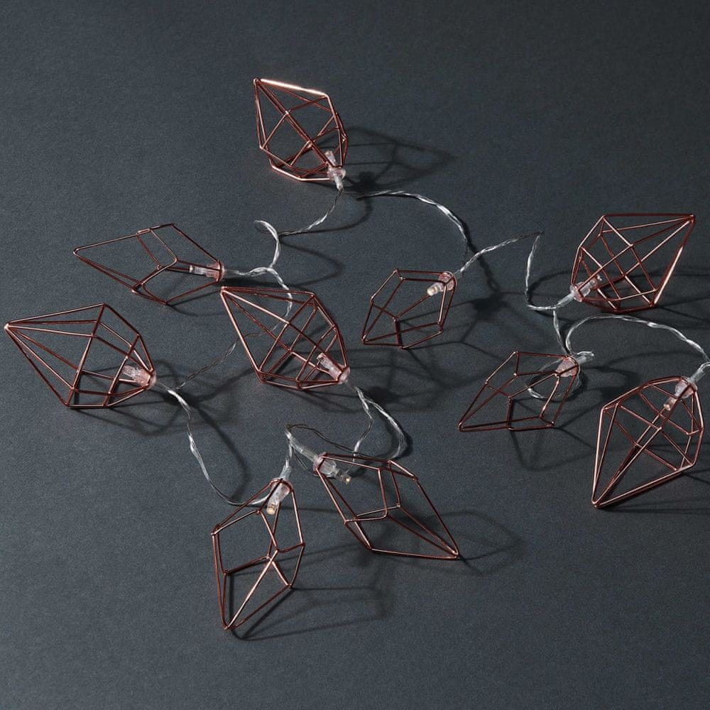 Butlers LED Světelný řetěz kovové diamanty 10 světel