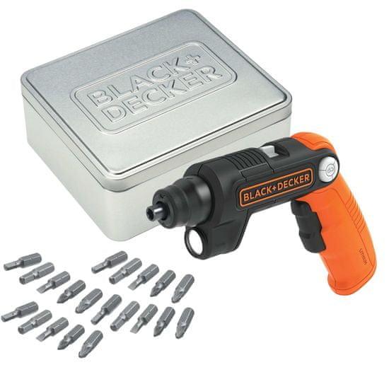 Black+Decker akumulatorski izvijač 3,6 V/1,5 Ah z zgibnim ročajem in svetilko (BDCSFL20AT-QW)