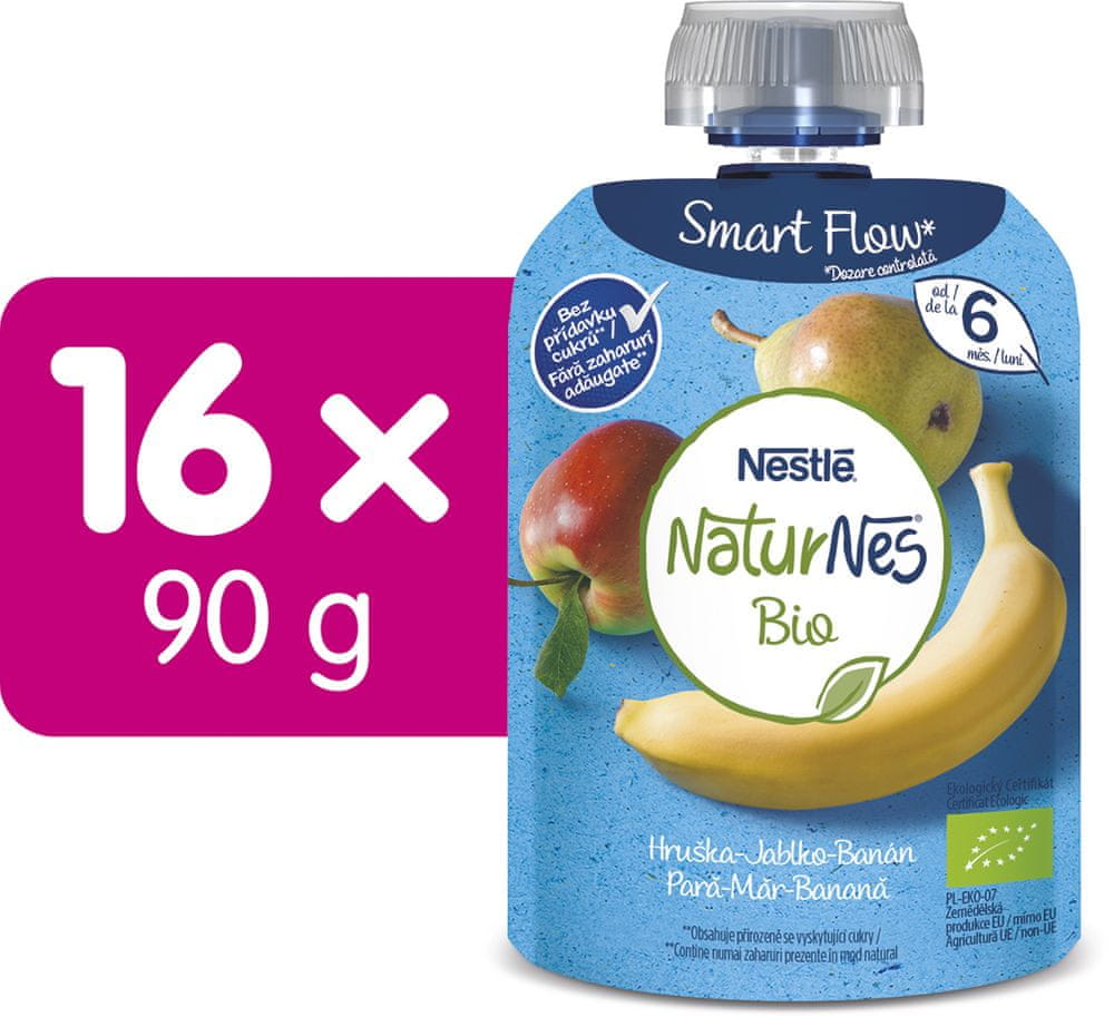 Nestlé BIO kapsička Hruška, Banán, Jablko 16x90 g