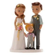 Dekora Svatební figurka na dort 16cm manželé s chlapečkem