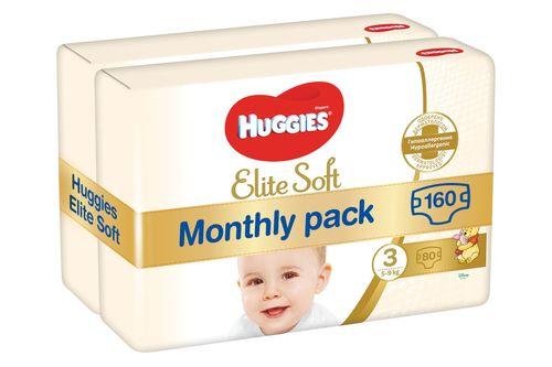 Huggies   pieluszki Elite Soft 3 (5-9 kg) 160 szt. (2x80 szt.) - opakowanie miesięczne  | MALL.PL