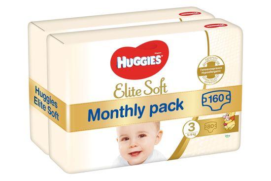 Huggies pieluszki Elite Soft 3 (5-9 kg) 160 szt. (2x80 szt.) - opakowanie miesięczne