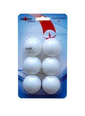 Magic Sports 1-Star set loptica za stolni tenis, 6 komada, bijele