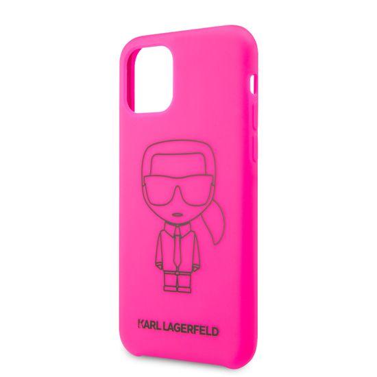 Karl Lagerfeld Silikonový Kryt pro iPhone 11 Pro Black Out Pink (EU Blister) (KLHCN58SILFLPI)