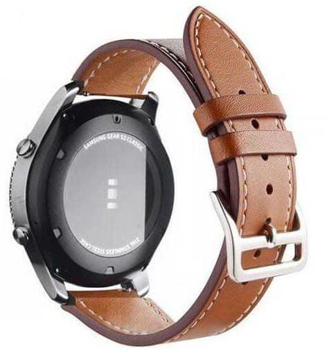 eses Kožený řemínek pro Samsung Galaxy Watch 46mm / Gear S3, hnědý (1530000427)