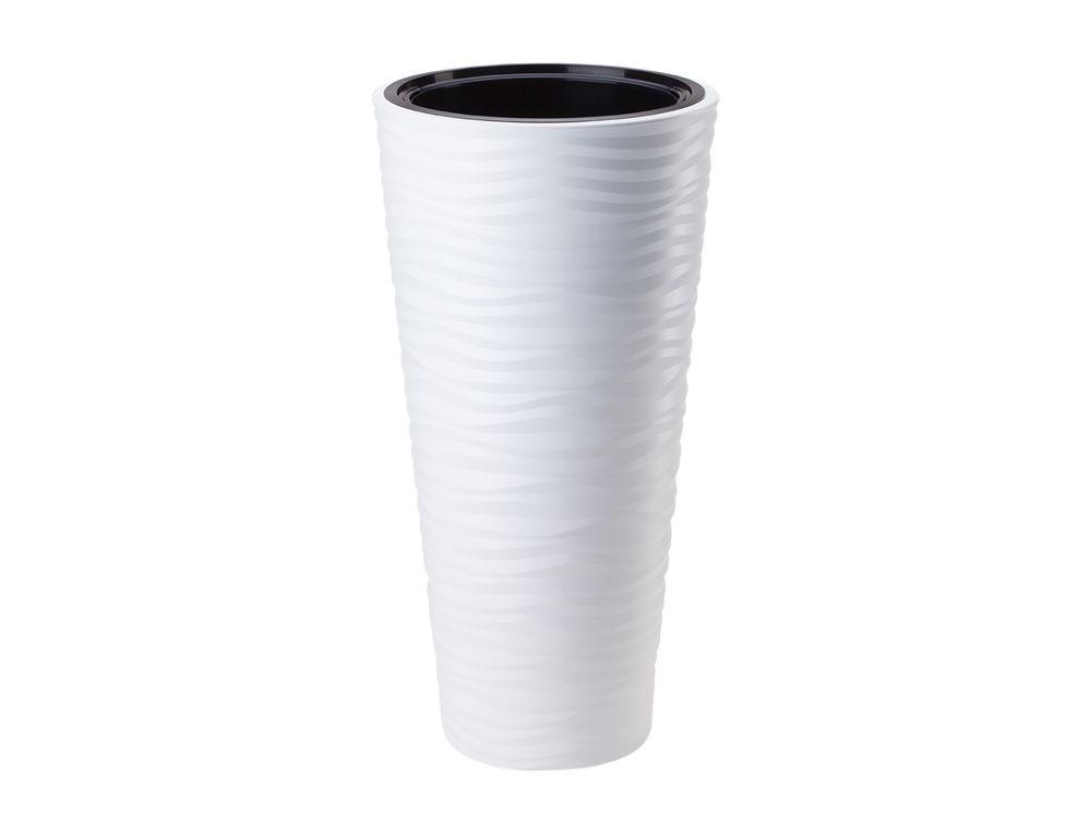 Obal na květník SAHARA SLIM plastový bílý d40 x 79 cm