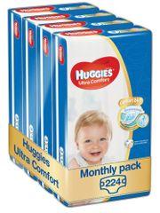 Huggies Ultra Comfort 3 Jumbo (5-8 kg) 224 ks (4x56 ks) - Měsíční balení