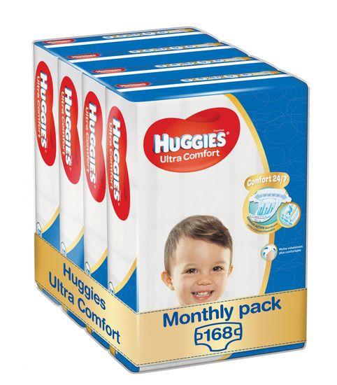 Huggies Ultra Comfort 5 Jumbo plenice (12–22 kg), 168 ks (4x 42 ks) – mesečno pakiranje
