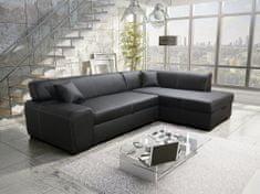 Nejlevnější nábytek Rohová sedačka JERMAINE 2 pravá, černá ekokůže