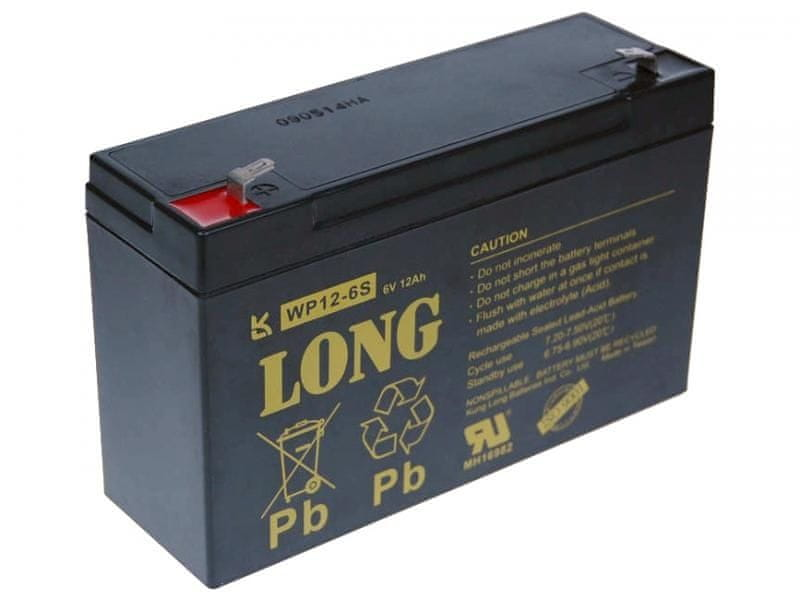 Long Long 6V 12Ah olověný akumulátor F1 (WP12-6S)