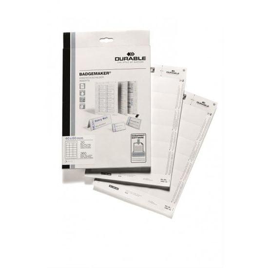 Durable Náhradné papiere BADGEMAKER 40x60 mm biele