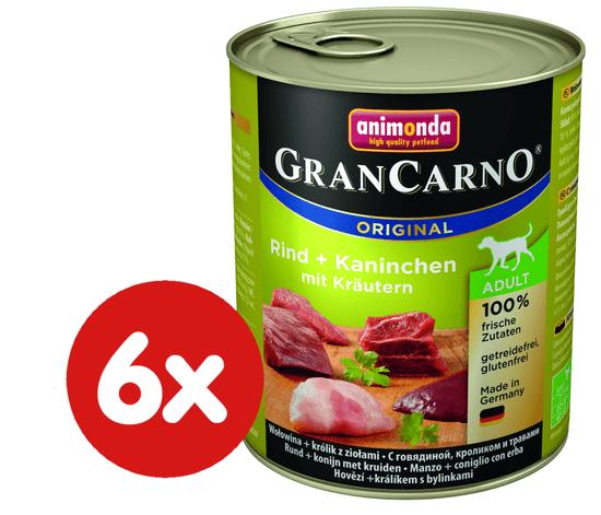 Animonda mokra hrana za odrasle pse GranCarno, govedina + zajec + zelišča, 6 x 800 g