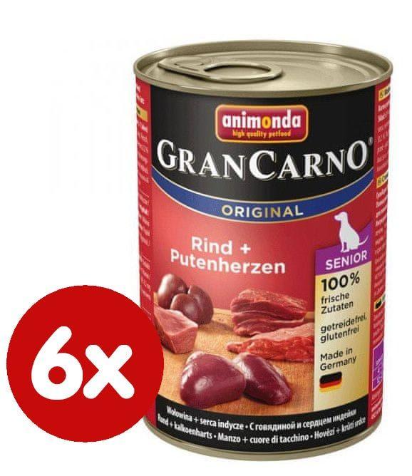Animonda GRANCARNO Senior hovězí, krůtí srdce 6 x 400g