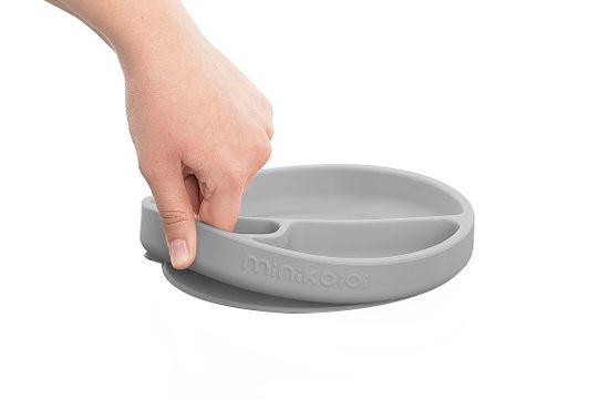 Minikoioi otroški krožnik iz silikona in vakumsko pritrditvijo