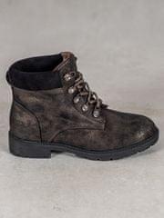 Vices Praktické hnědé kotníčkové boty dámské na plochém podpatku + Ponožky Gatta Calzino Strech, odstíny hnědé a béžové, 37