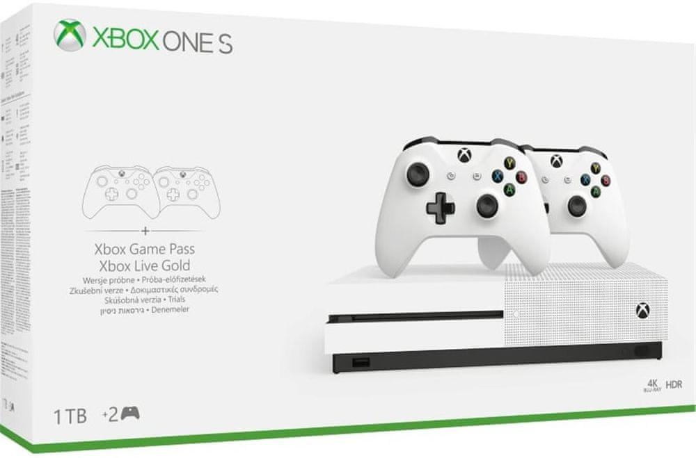 Microsoft Xbox One S 1 TB + 2× bezdrátový ovladač - rozbaleno