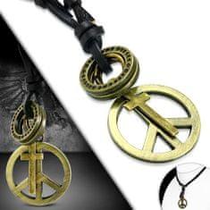 316Steel Pánský kožený náhrdelník - Peace, Křížek