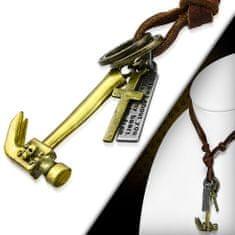316Steel Pánský kožený náhrdelník s Kladivem a Křížkem