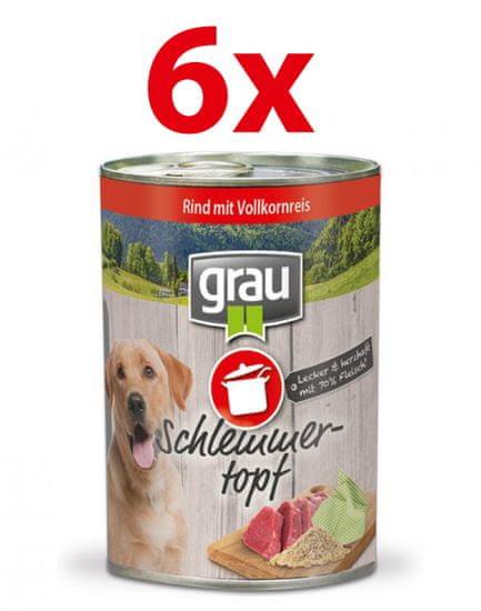 Grau Mokra hrana za pse Grau, govedina in polnozrnat riž, 6x400 g