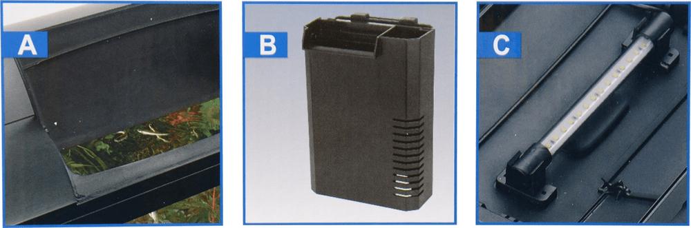 Hailea LED K60 akvarijní set 59x31x45,6 cm, 60 l černý