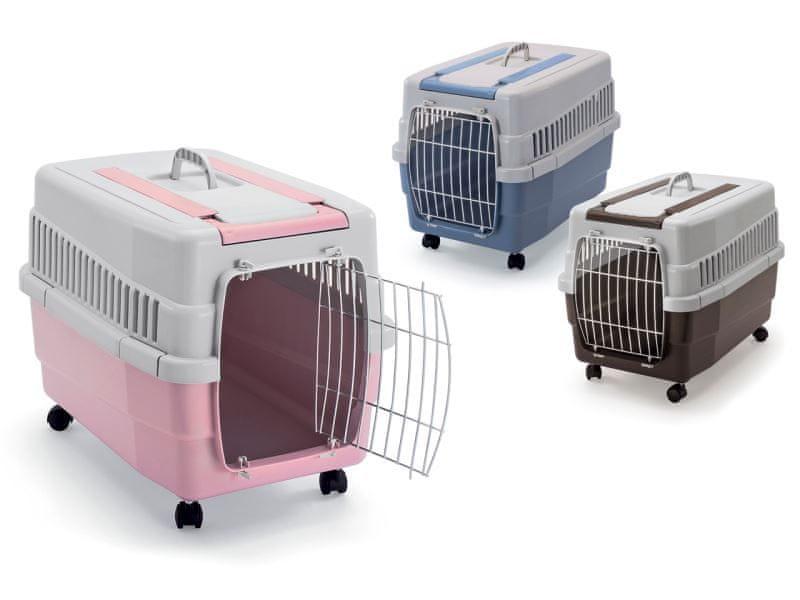 IMAC Přepravka na kolečkách pro psa a kočku plastová, růžová