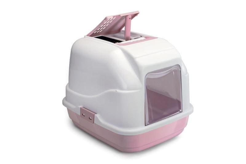 IMAC Krytý kočičí záchod s uhlíkovým filtrem a lopatkou, růžový 50