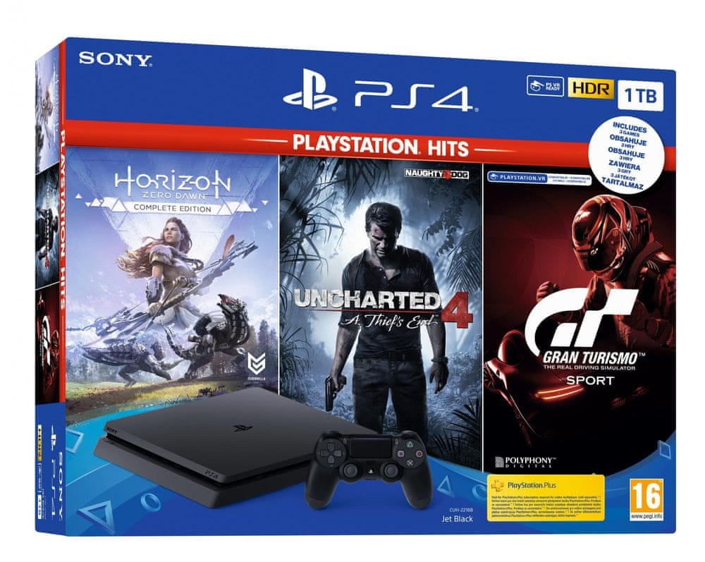 Sony PlayStation 4 Slim - 1TB + Gran Turismo Sport + Horizon: Zero Dawn + Uncharted 4, (PS719318804)
