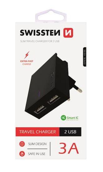SWISSTEN pametni mrežni adapter, IC, CE 2x USB 3A napajanje, bijela + USB podatkovni kabel (22031000)