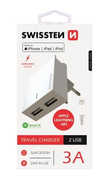 SWISSTEN Síťový adaptér smart IC, CE 2x USB 3 A power bílý + datový kabel USB / lightning, 22045000