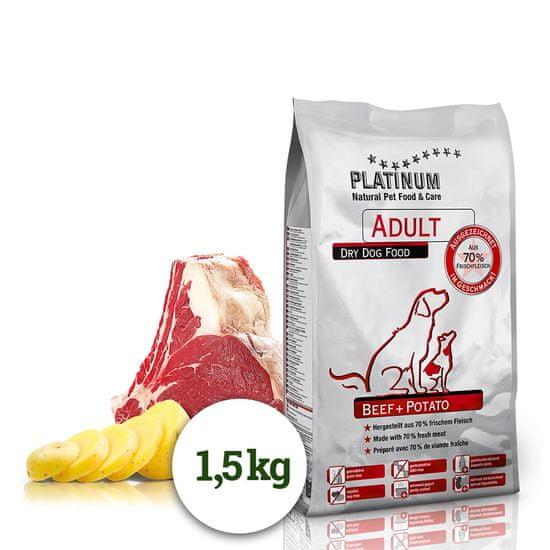 Platinum Natural Beef & Potato hrana za odrasle pse, z govedino in krompirjem, 1,5 kg