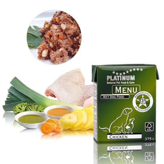 Platinum Natural pašteta za pse Menu Chicken, 375 g
