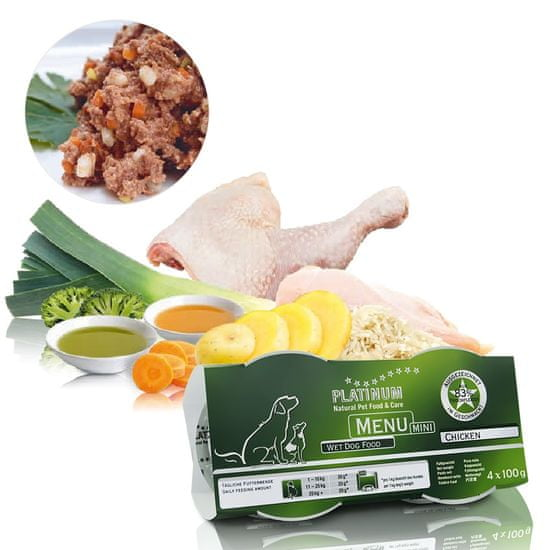 Platinum Natural pašteta za pse Menu Mini Chicken, 4×100 g