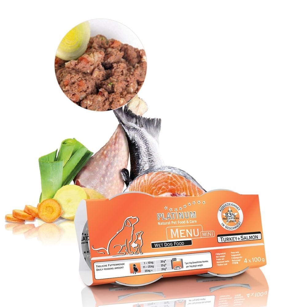 Platinum Natural Menu Mini Turkey + Salmon 4×100 g