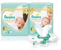 Pampers Premium Care 1 (2-5 kg) + 2 (4-8 kg) Starter Pack + Aqua Pure vlhčené ubrousky 48 ks