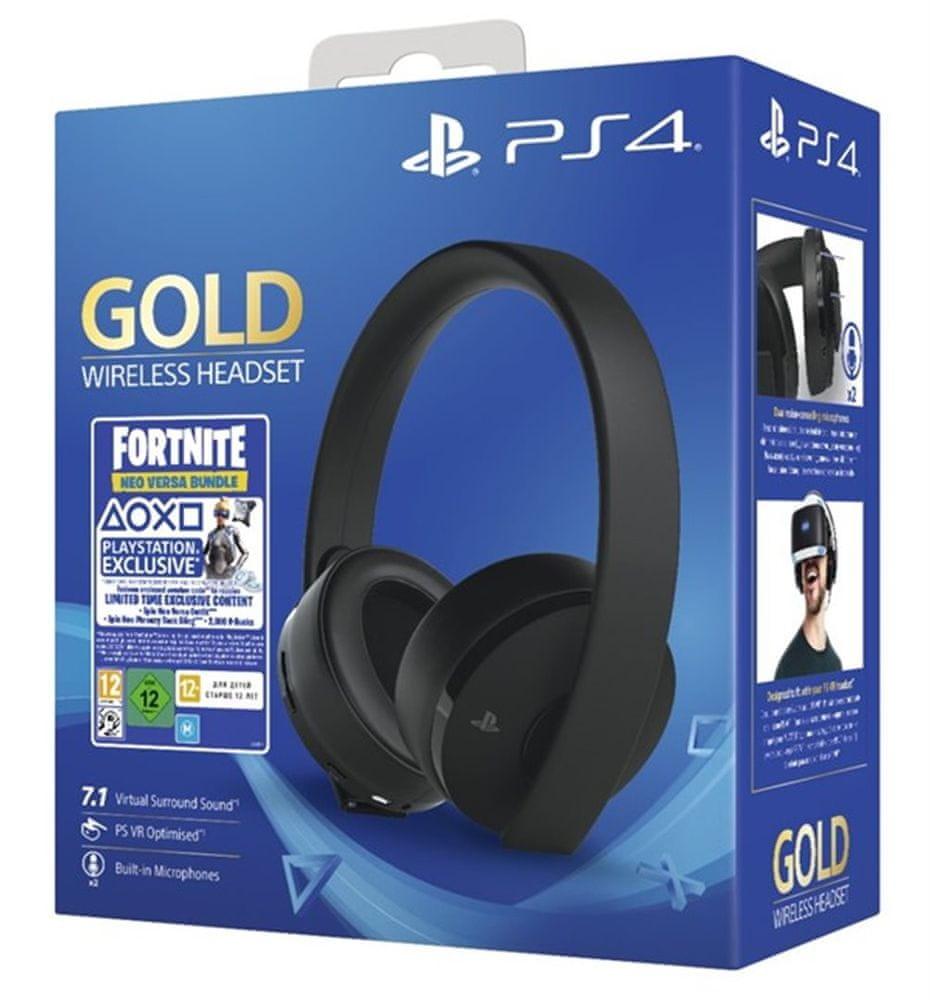 Sony PS4 Gold/Black Wireless headset, černá + Fortnite 2000 V Bucks