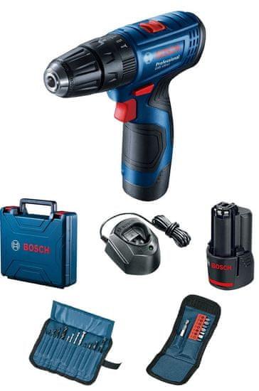 BOSCH Professional Akumulatorski izvijač GSB 120-LI, 2 akumulatorja + dodatki (0.601.9G8.102)