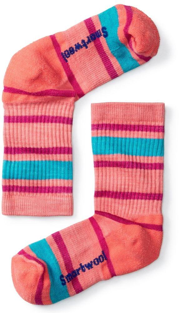 SmartWool dětské ponožky K HIKE LIGHT STRIPED CREW S bright coral
