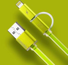 REMAX AA-1146 AURORA 2in1 USB CABLE zelený