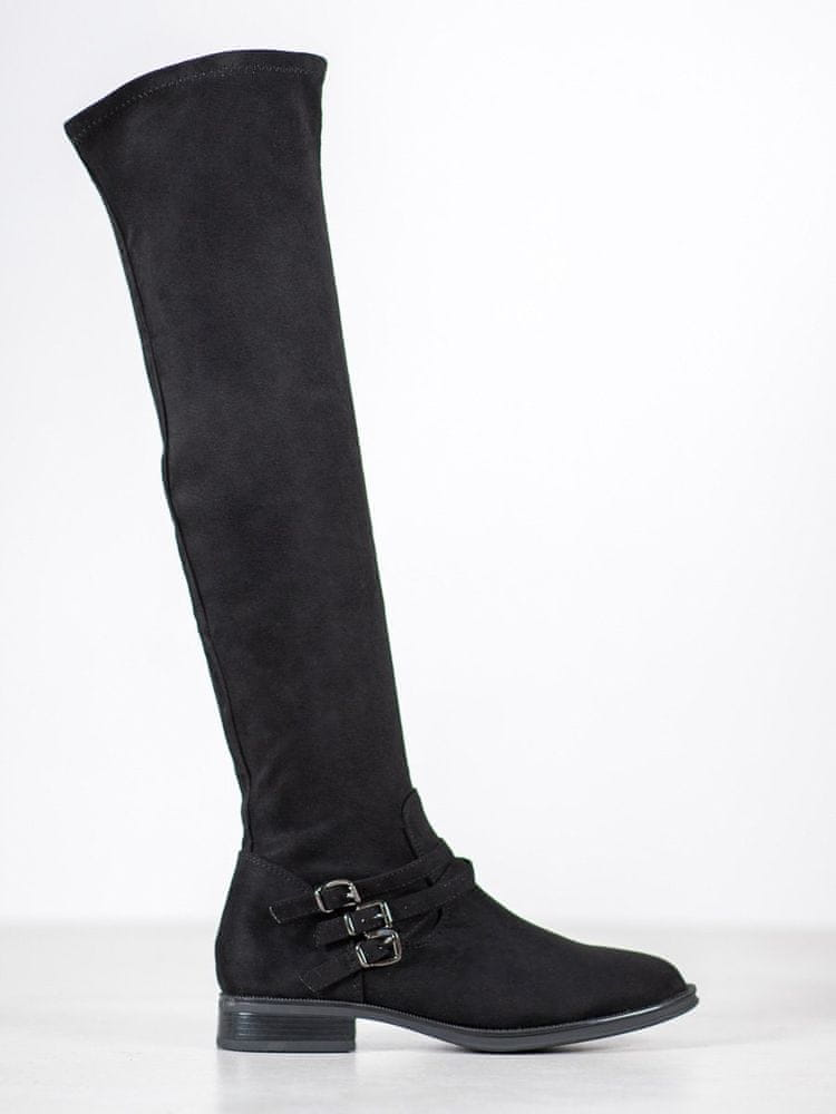 Moderní černé kozačky dámské na plochém podpatku, černé, 37