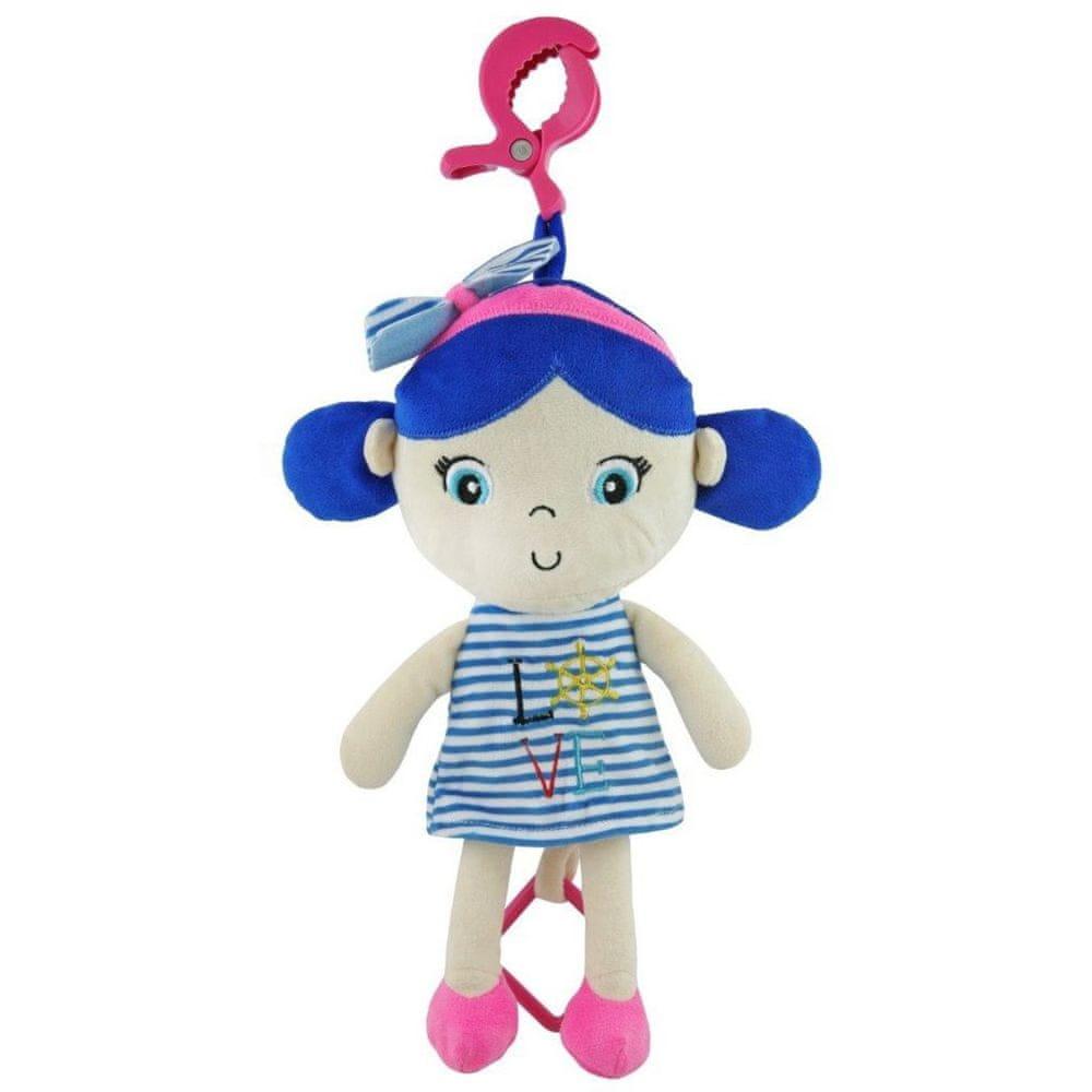 Baby Mix Edukační hrající plyšová panenka Baby Mix námořník holka blue